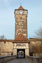 Castle tower of rothenburg ob der tauber old gate with in germany Royalty Free Stock Images