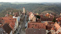 Castle tower of rothenburg ob der tauber old gate with in germany Stock Photo