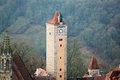 Castle tower of rothenburg ob der tauber old gate with in germany Royalty Free Stock Photo