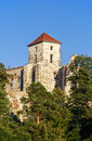 Castle tower in tenczynek poland the of the ruined medieval zamek tenczyn near krakow Stock Image