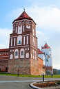 Castle tower in town Mir in Belarus Royalty Free Stock Photography