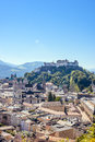 Castle view of Salzburg Austria in a bright summer day