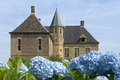 Castle Vorden and blooming hydrangeas, Netherlands Royalty Free Stock Photo