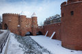 Castle walls of Warsaw, Poland,  old town in winter Stock Photo