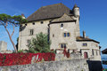 Castle in yvoir village historical france locally known as chã teau d yvoire Stock Photography
