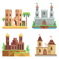 Castles and fortresses flat vector icons set. Cartoon fairy medieval with towers