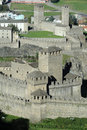 Castles of montebello and castelgrande at bellinzona on the swiss alps Stock Photos