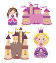 Castles and princesses set vector graphic image with little fairy princess girls nice in pink coloures Stock Images