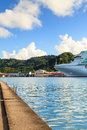 Castries waterfront p o cruise ship ventura docked in capital of st lucia the port offers a sheltered harbour and a preferred Royalty Free Stock Photo
