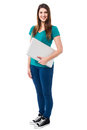 Casual attractive girl holding laptop pretty female a isolated over white Stock Photo
