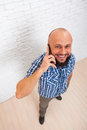 Casual Bearded Business Man Cell Smart Phone Call Top View Royalty Free Stock Photo