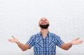 Casual Bearded Business Man Excited Happy Look Up Hand Gesture Royalty Free Stock Photo