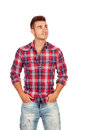 Casual boy with plaid shirt looking up isolated on white background Stock Photography