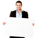 Casual business man with a banner Royalty Free Stock Photos