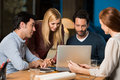Casual business team working late Royalty Free Stock Photo