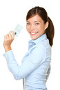 Casual business woman holding showing credit card smiling happy in blue shirt young female professional empty blank Royalty Free Stock Photos