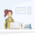 Casual Business Woman Sitting Desk Working Laptop Computer Royalty Free Stock Photo