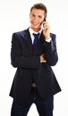 Casual businessman talking on mobile phone Royalty Free Stock Images