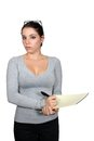 Casual Businesswoman with Notepad (1) Royalty Free Stock Photography
