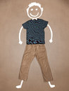 Casual clothes with hand drawn funny character smiley Stock Photos