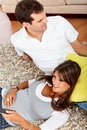 Casual couple at home Stock Images