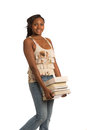 Casual Dressed African American College Student Stock Images