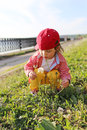 Casual dressed baby with blowball outdoors in summer Royalty Free Stock Photo