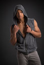 Casual dressed young african american male fashion model natural looking on grey background Stock Photo