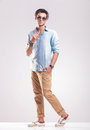 Casual fashion man stepping forward Royalty Free Stock Photo