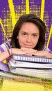 Casual female student with notebooks Royalty Free Stock Image
