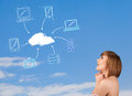 Casual girl looking at cloud computing concept on blue sky young Royalty Free Stock Images