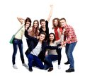 Casual group of excited friends isolated Royalty Free Stock Photo