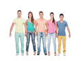 Casual group of friends isolated on white background Royalty Free Stock Photography