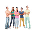 Casual group of friends isolated on white background Royalty Free Stock Photo