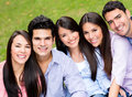 Casual group friends smiling park Stock Photography