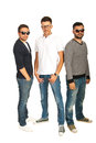 Casual group of guys three with sunglasses and eyeglasses isolated on white background Stock Images