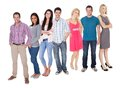 Casual group of people standing over white isolated background Stock Photography