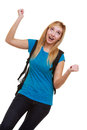 Casual happy girl female student with bag showing success hand sign portrait of blond smiling emotional in blue backpack gesture Stock Image