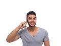 Casual Man Cell Smart Phone Call Look Up Royalty Free Stock Photo