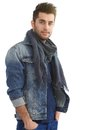 Casual man in denim jacket handsome standing smiling Stock Photo