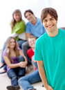 Casual man with friends Royalty Free Stock Photo