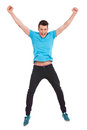 Casual man jumping in air Stock Photos