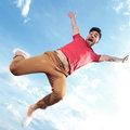 Casual man jumping outdoor Royalty Free Stock Photo