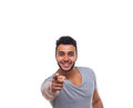 Casual Man Point Finger At You Happy Smile Young Handsome Guy Royalty Free Stock Photo