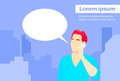 Casual man smart phone talk chat box communication flat vector illustration Stock Photo