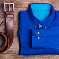 Casual mens fashion and outfits on the wooden table, flat lay, top view. square