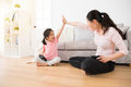 Casual mom accompany cute little girl on holiday Royalty Free Stock Photo