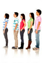 Casual people queuing Royalty Free Stock Photo