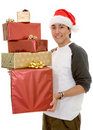 Casual santa claus with gifts Royalty Free Stock Photography