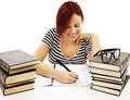 Casual student doing her homework Royalty Free Stock Photo